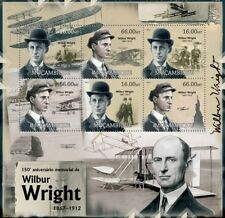 WILBUR WRIGHT / Wright Brother Flyer Aircraft Stamp Sheet 1 (2012 Mozambique)