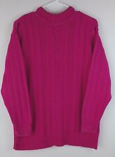 LIZWEAR PETITE SWEATER CABLE KNIT 100% COTTON FUCHSIA PINK MADE IN USA SIZE S