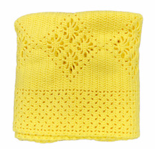 Handmade Crochet Bright Yellow Diamond Floral Pattern Afghan Blanket 39 x 56