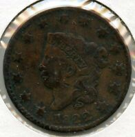 1822 Coronet Head Large Cent Penny - BG314
