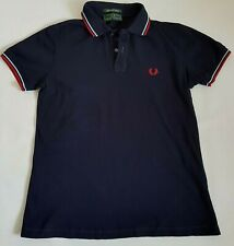 VINTAGE FRED PERRY POLO SHIRT SHORT SLEEVE LIGHT STRETCH BLUE NAVY 42'' 107 S M