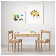 Ikea Latt Children's Table and 2 Chairs Pine and White Kids Craft Art Desk