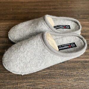 LE KAPMOZ Men's Boiled Wool House Slippers Breathable Winter Warm Slip on L