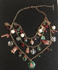 Vintage Christmas Triple Strand Charm Necklace,Bells,Rhinestones,Beads Etc.