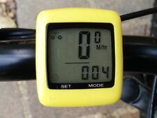 NUOVO evorider GIALLO ciclo Wireless Tachimetro Bici Speedo TEMP MPH KMH odometer