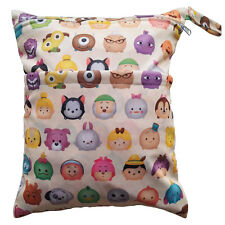 Tsum Tsum Wet Dry Bag Baby Cloth Diaper Nappy Bag Reusable With Two Zip Pockets