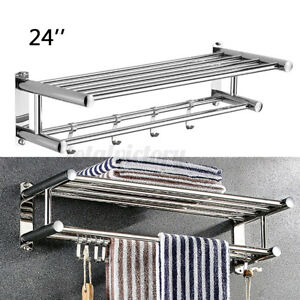 Stainless Wall Mounted Towel Rack Bathroom Hotel Rail Holder Storage Shelf 2Tier