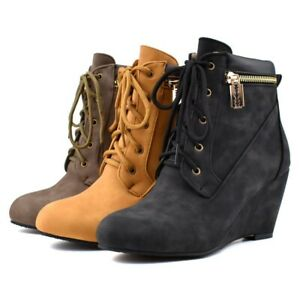 Punk Gothic Ladies Womens Suede Boots Riding Shoes Lace Up Wedge High Heels
