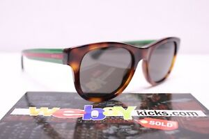 Gucci GG Brown Black Green Red OG UV Round Frame Acetate Sunglasses 461688 New