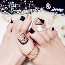 3D Toe Fake Glue Shimmer Diamond Full Nail Metallic Silver Toe Tip 24/1 Fake uk