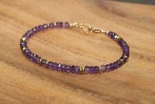 Natural Amethyst Faceted Gemstone Beaded Bracelet 14k Gold Over Beads & Clasp