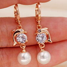 Dolphin Play Ball 18K Gold Filled Earrings Topaz Pearl Pendant Women Girl Cute