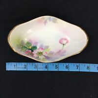 Antique Hand Painted Nippon Blue Rising Sun Backstamp Dish Oval Bowl Floral Gold