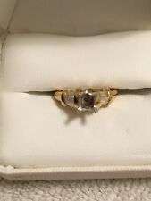 18k yellow gold and platinum engagement ring w/ diamond baguettes - Setting Only