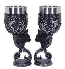 More details for familiars love goblets 18.5cm (set of 2) nemesis now b5150r0 black cat heart