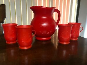 Vintage Kool-Aid Man 2 Quart Pitcher And 4 Matching Drink Cups Red Plastic Set