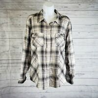 Style&co Womens Pearl Snap Shirt Sz Large Gray Tan Plaid Long Sleeve