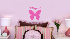 Personalized BUTTERFLY decal w NAME VINYL WALL ART STICKERS room decor DECAL B