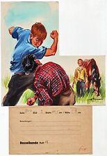 Originalzeichnung farbig Rasselbande Wilhelm Eigener 50er Jahre Illustration