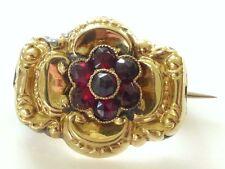 Vtg 18K Gold Victorian Garnet Brooch Pin Antique Gold Repousse Rose Cut Flower