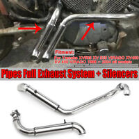 FOR YAMAHA XV535 XV 400 VIRAGO 2PCS PIPES FULL EXHAUST SYSTEM With SILENCERS