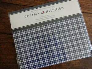 TOMMY HILFIGER NAVY Blue WHITE PLAID Cotton Blend KING SHEET SET 4PC