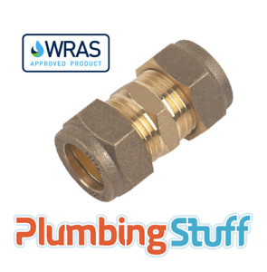 Straight Connector - 15mm x 15mm Compression Brass - WRAS Straight coupling