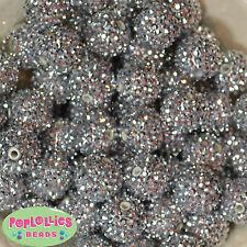 20mm Silver Rhinestone Bubblegum Beads sparkly gumball jewelry 20 beads