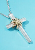 Tiffany & Co Sterling Silver 18Ct 18K Gold Signature Cross Pendant Necklace
