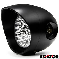 "12V Black Universal Motorcycle 7"" Bright LED Round Headlight High Low Beam Light"