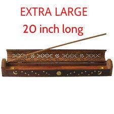 "Incense Burner XL Carved Coffin 20 "" W/Storage Burns Sticks & Cones Handmade"
