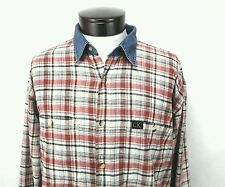 CALVIN KLEIN Unisex Western Plaid Shirt With Denim Collar Womens XL Mens Medium