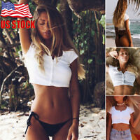Women Summer Casual Tank Top Blouse Ladies Slim Crop Top Short Sleeve T-Shirt