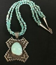 Turquoise & Sterling Silver Necklace *Native American Indian* Tommy Jackson!!!