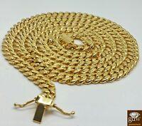 Real 14K Yellow Gold  Miami Cuban Chain 22 inch Long, 8mm BOX LOCK Men, Franco,