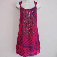 Hale Bob Women's Beaded Sleeveless Silk Summer Dress EUC - Size Small