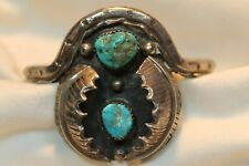 New ListingSouthwestern Sterling Silver Turquoise Unusual Shape Leaf Design Cuff Bracelet