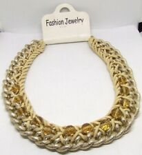 "18"" Beige Suede Leather/Gold-T Texture Chain Choker~Crystal Bead Necklace/Collar"