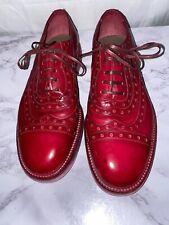 Dolce & Gabbana Red Distressed Leather Wingtip Balmorals Men's Sz EU40.5/US7.5M