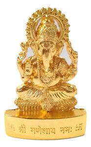 Ganesh Idol Ganesha Murti Statue Om Lord Hindu Golden Color 6.5 cm Height