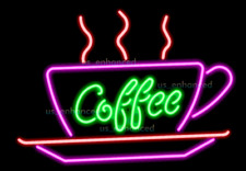 New Coffee Steam Cup Plate Pub Bar Real Glass Handmade Neon Light Sign 24""