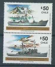 CHILE 1990 Navy tradition ships helicopter Antartic MNH pair