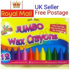 12 Jumbo Non-Toxic Wax Crayons Bright Assorted Colours Kids Colouring Free P&P