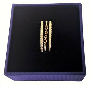 Authentic Swarovski Crystal & Chain Fine Ring Gold Plated Size 6 NEW #5257668