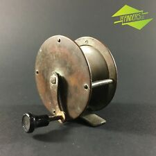 "STUNNING ANTIQUE BRASS 2-1/2"" TROUT REEL FLY FISHING REEL PILLAR TACKLE ROD"