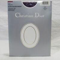 Vintage Christian Dior Augergine Purple Pantyhose Control Top Size 3 Ultra Sheer