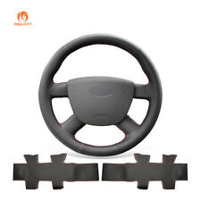 DIY Black PU Leather Car Steering Wheel Cover Wrap for Ford Transit 2010-2013
