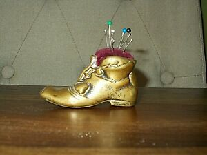 Vintage Detailed Brass Shoe Pin Cushion & Pins