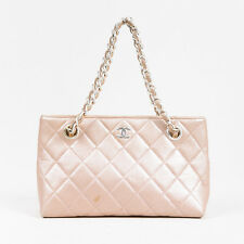 """Chanel 01P $795 """"Light Pink"""" Lambskin Leather Quilted Silver Tone Chain Tote Bag"""