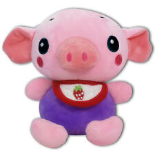 "7"" Baby Pig W/ Strawberry Bib Stuffed Animals Plush Toy Suction Cup New (Purple)"